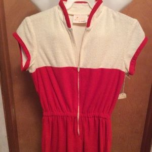 Red and White Romper